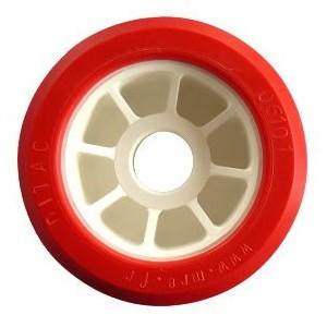 Galet Bi-matière rouge Ø 100mm - L : 50mm Alésage: Ø 21mm