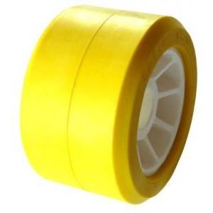 Galet Bi-matière jaune Ø 100mm - L : 50mm Alésage: Ø 21mm
