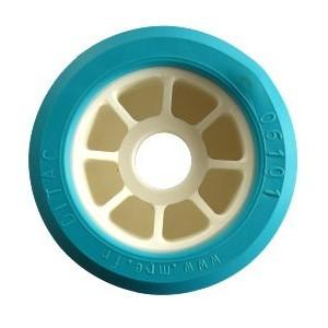 Galet Bi-matière Turquoise Ø 100mm - L : 50mm Alésage: Ø 21mm
