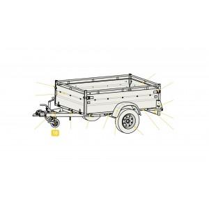 Timon sans boîte à rotule ni traverse de roue jockey pour remorque LIDER ROBUST 39530